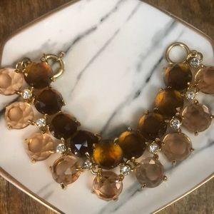 ⭐️ J. Crew brown/pink/white jeweled bracelet ⭐️